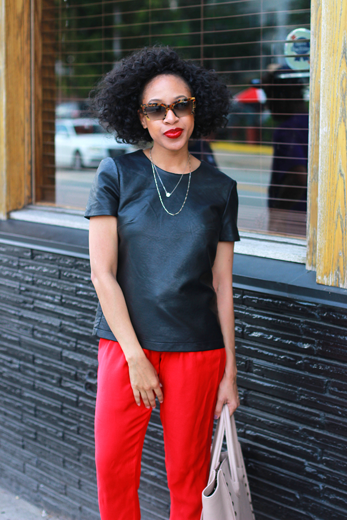 Leather Top + Red Pants