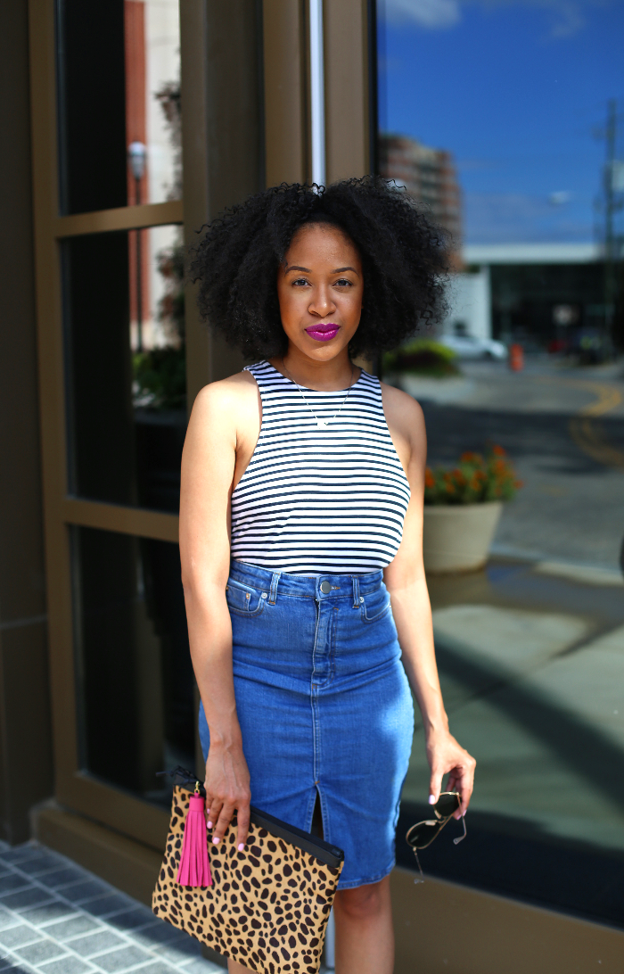 Striped Halter Top + Denim Skirt