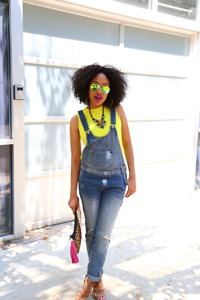 Neon Tank Top + Denim Overalls