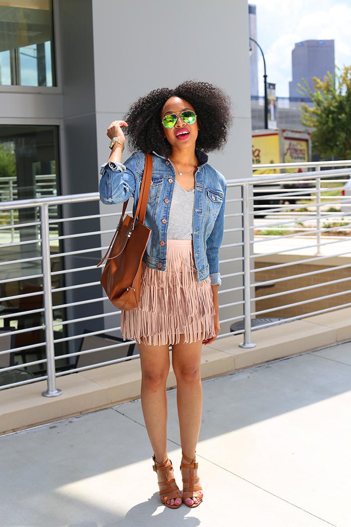 Denim Jacket + Leather Fringe Skirt
