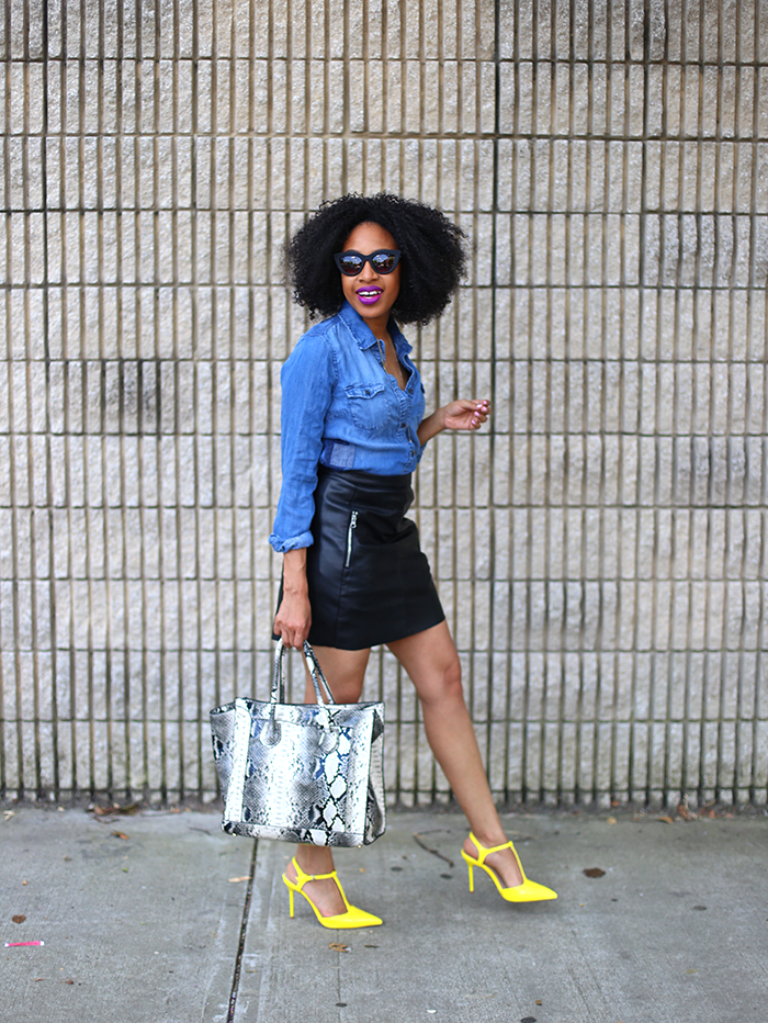 Chambray Top + Leather Skirt