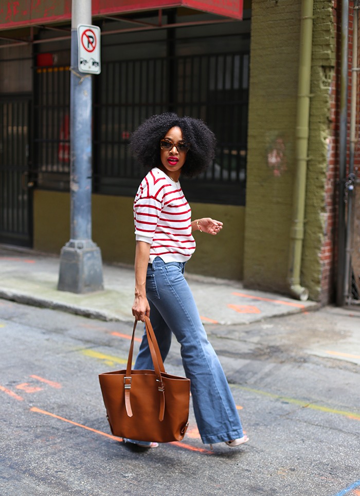 Striped Top + Flared Jeans