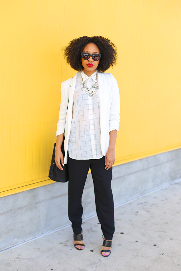 Checkered Shirt + White Blazer
