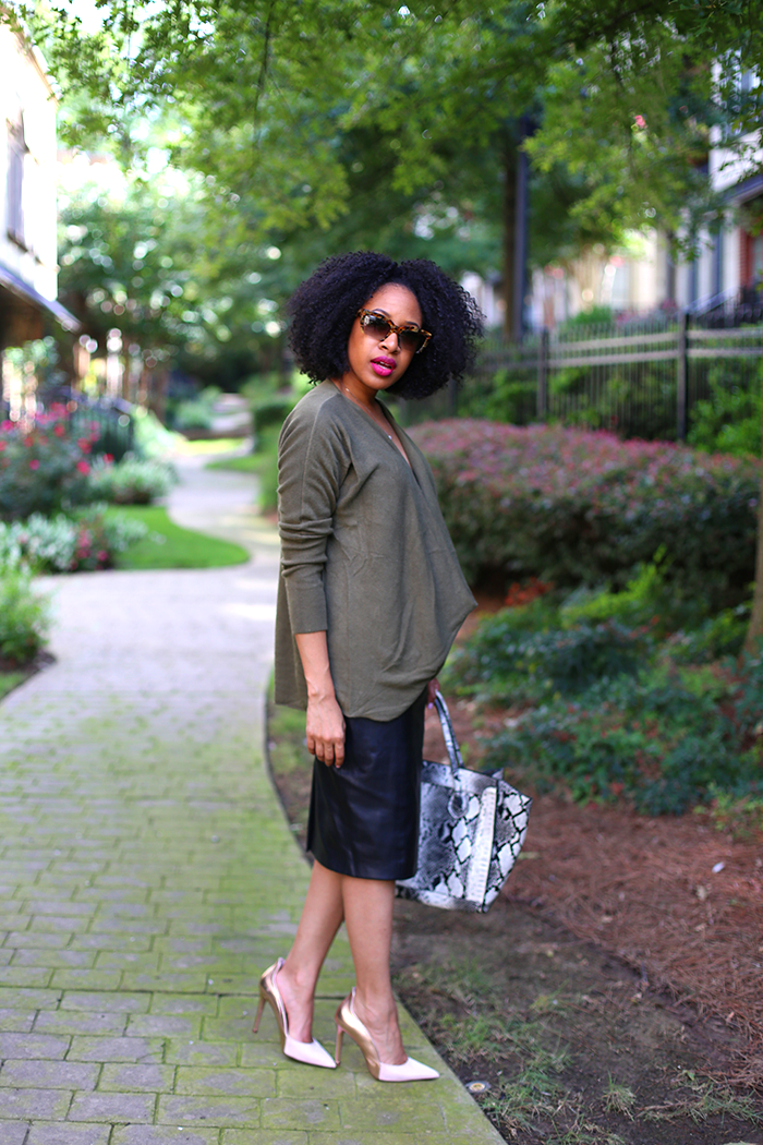 Draped Sweater + Leather Pencil Skirt