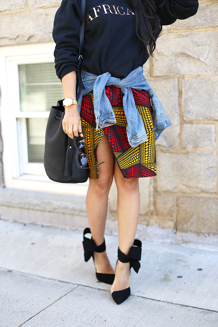 Mattieologie: Graphic Sweatshirt + Ankara Skirt