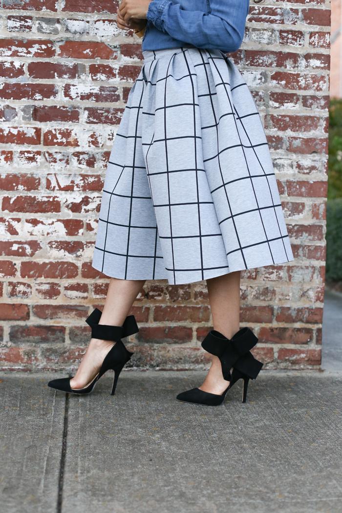 Chambray Shirt + Printed Skirt | Mattieologie