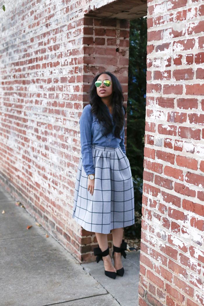 Chambray Shirt + Printed Skirt | Mattieologie