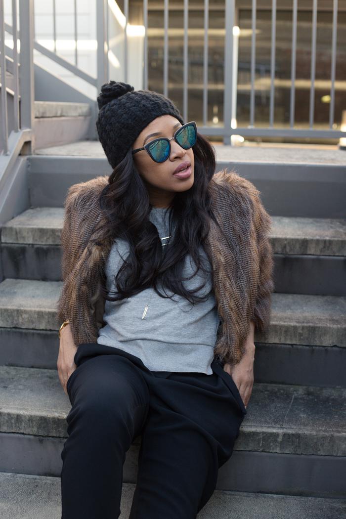 Faux Fur Coat + Black Trousers | Mattieologie