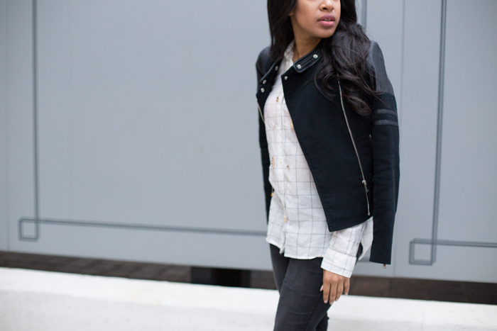 Moto Jacket + Distressed Skinny Jeans
