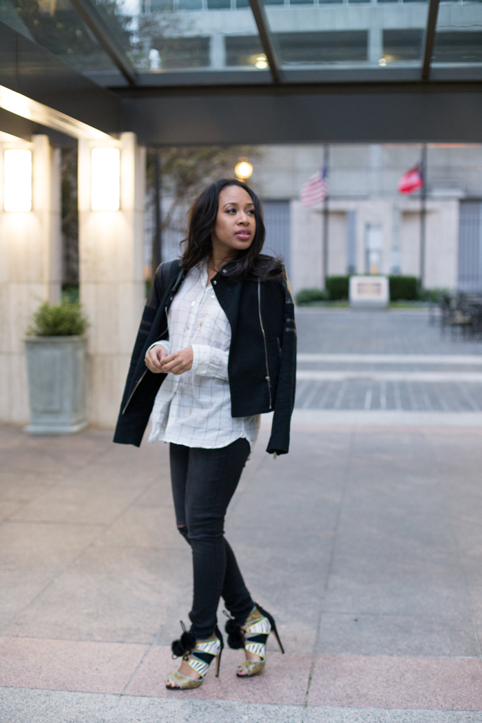 Moto Jacket + Distressed Skinny Jeans | Mattieologie