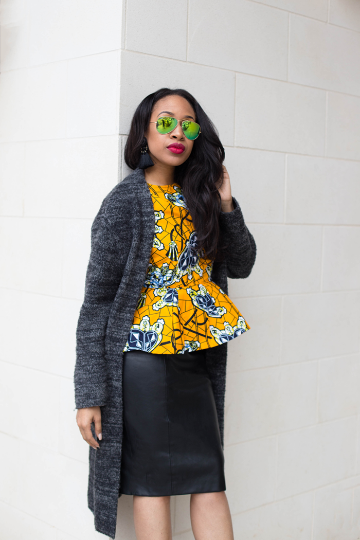 Ankara Peplum Top + Leather Pencil Skirt | Mattieologie