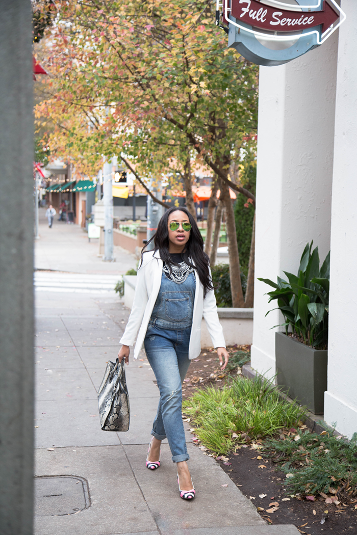 White Blazer + Denim Overalls | Mattieologie