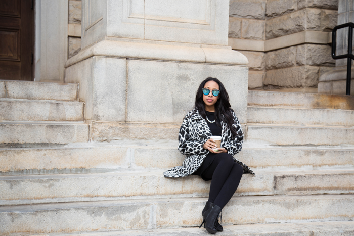 Printed Coat + Little Black Dress | Mattieologie