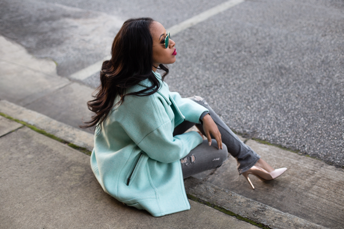 Mint Winter Coat + Gray Skinny Jeans | Mattieologie