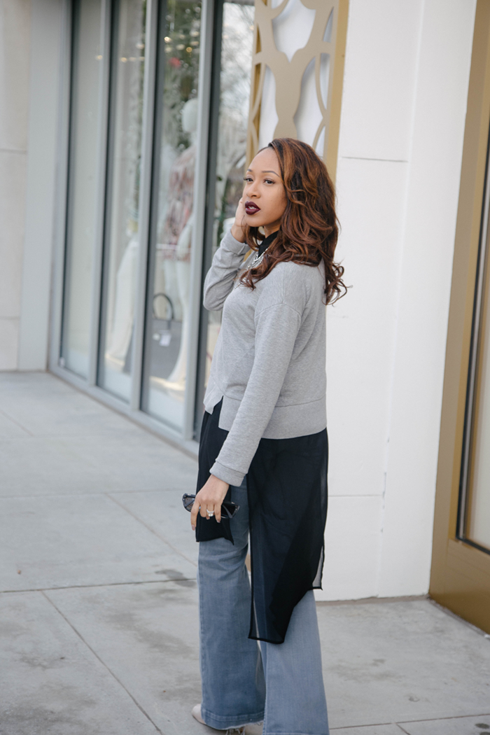 Sheer Black Top + Grey Flare Jeans | Mattieologie