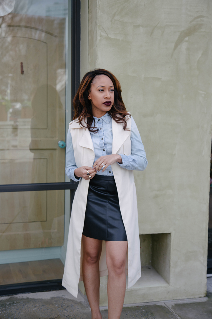 Denim Top + Leather Skirt | Mattieologie