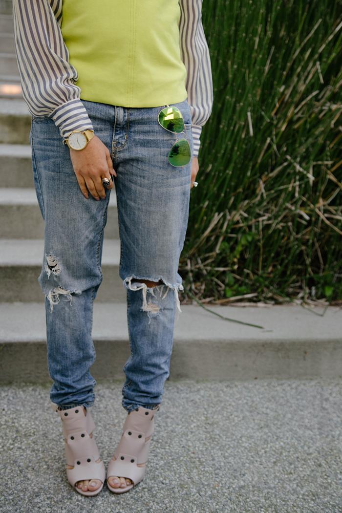 Lime Green Top + Boyfriend Jeans | Mattieologie