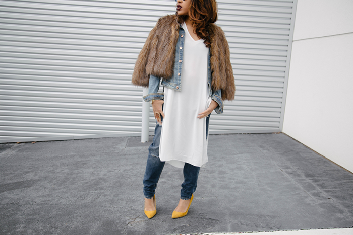 Fur Jacket + White Long Top | Mattieologie