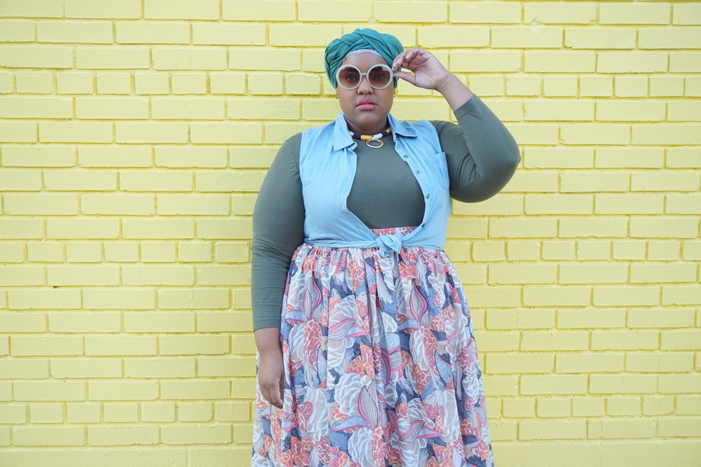 Shades: Forever21 + Necklace: Charming Charlies + Shirt: Avenue + Denim Vest: Burlington + Skirt: Society +
