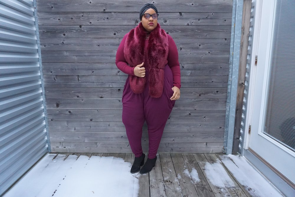Turban: Flossy's Suitcase + Faux Fur/Pant: Forever 21 + Long Sleeve: Rainbow Shops + Booties: Pay-Less Shoe Source + Shades: Alley and Eye