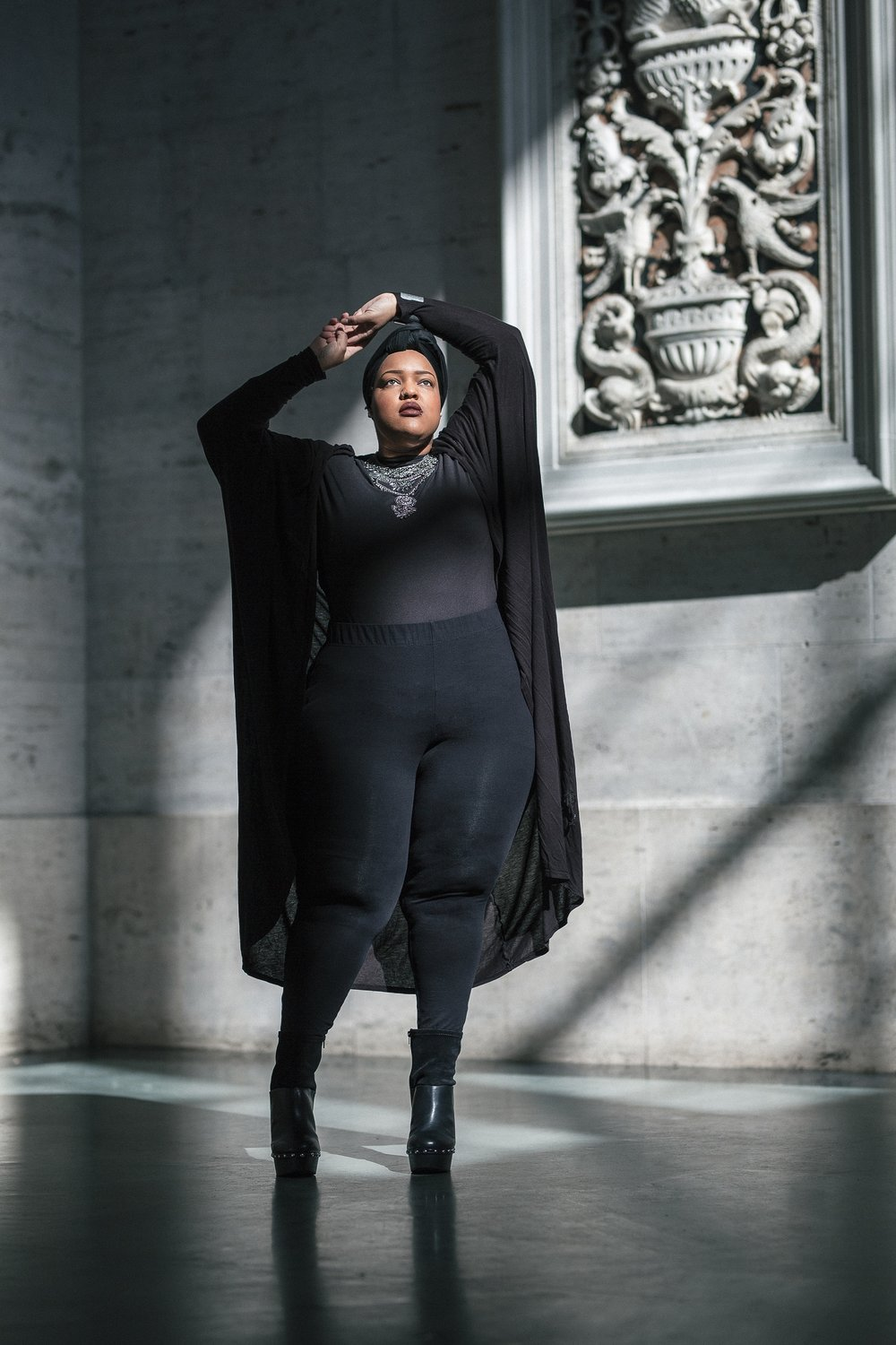 Cape/Jacket: Forever 21 + Leggings: Lane Bryant + Shoes: Torrid
