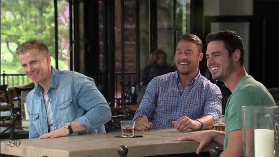 """For you non-superfans/sane people, from left to right: Professional Virgin Sean Lowe, happily married to the woman he proposed to; Farmer Chris Soules, broke up with the woman he proposed to; 90's Dad Ben Higgins, engaged to the woman he proposed to. And yes, I know it's """"to whom he proposed."""" It's 4 in the morning as I'm writing this. Deal."""