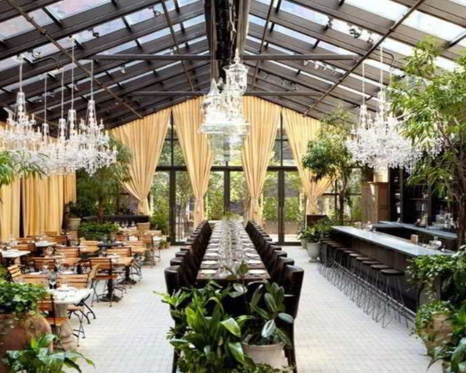 "Restaurant, ""Nomo Kitchen"" American, Mediterranean, Brunch, inside Hotel in Soho Note: Glass Ceiling for amazing Sunlight"