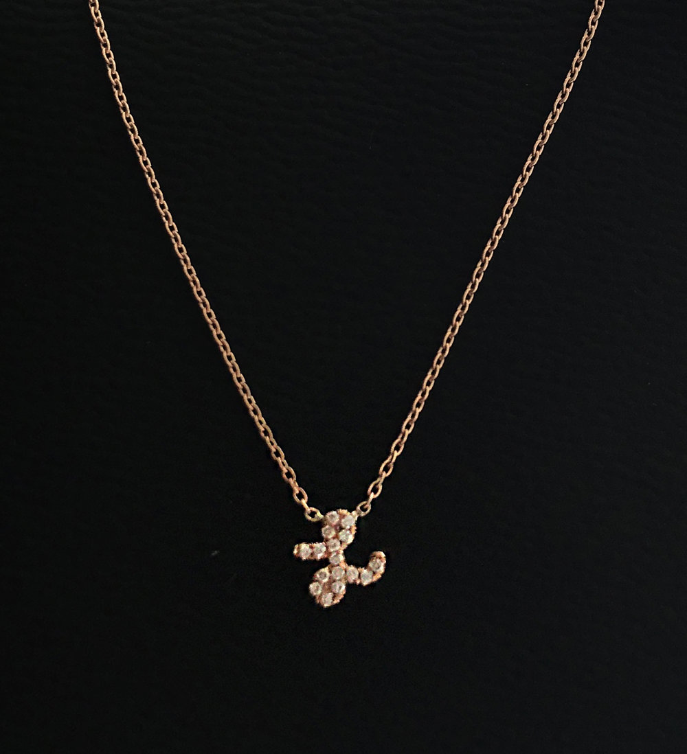 Custom Initial Necklace - please inquire for pricing, Diamond & Gold (Yellow, White, Rose)
