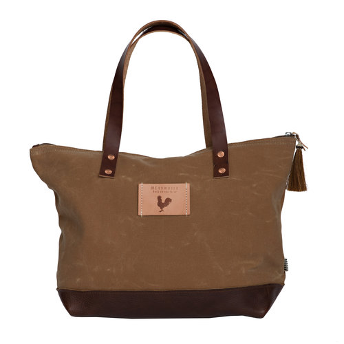 914f53024 Field Tan Wax Canvas Day Tote with Leather Bottom and Zipper ...