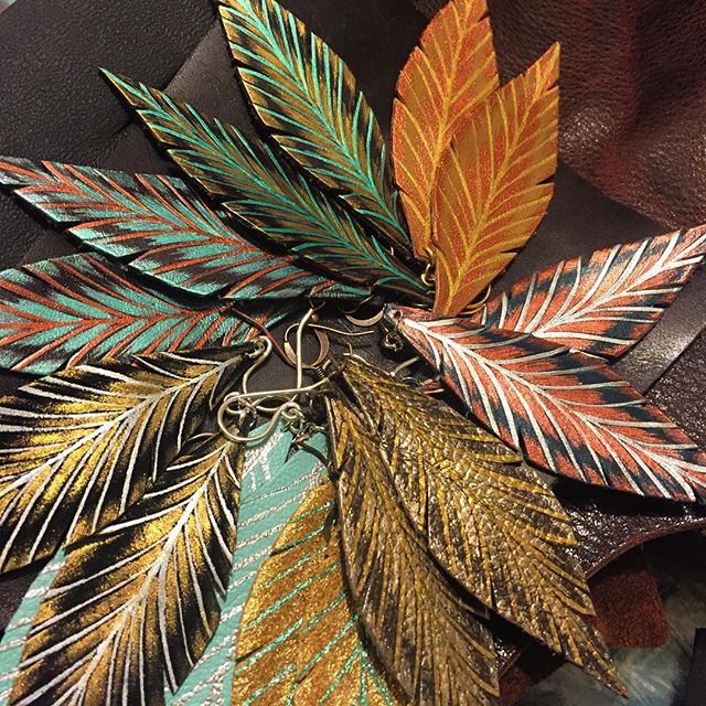Hand Painted Leather Feathers by BellaDrops!