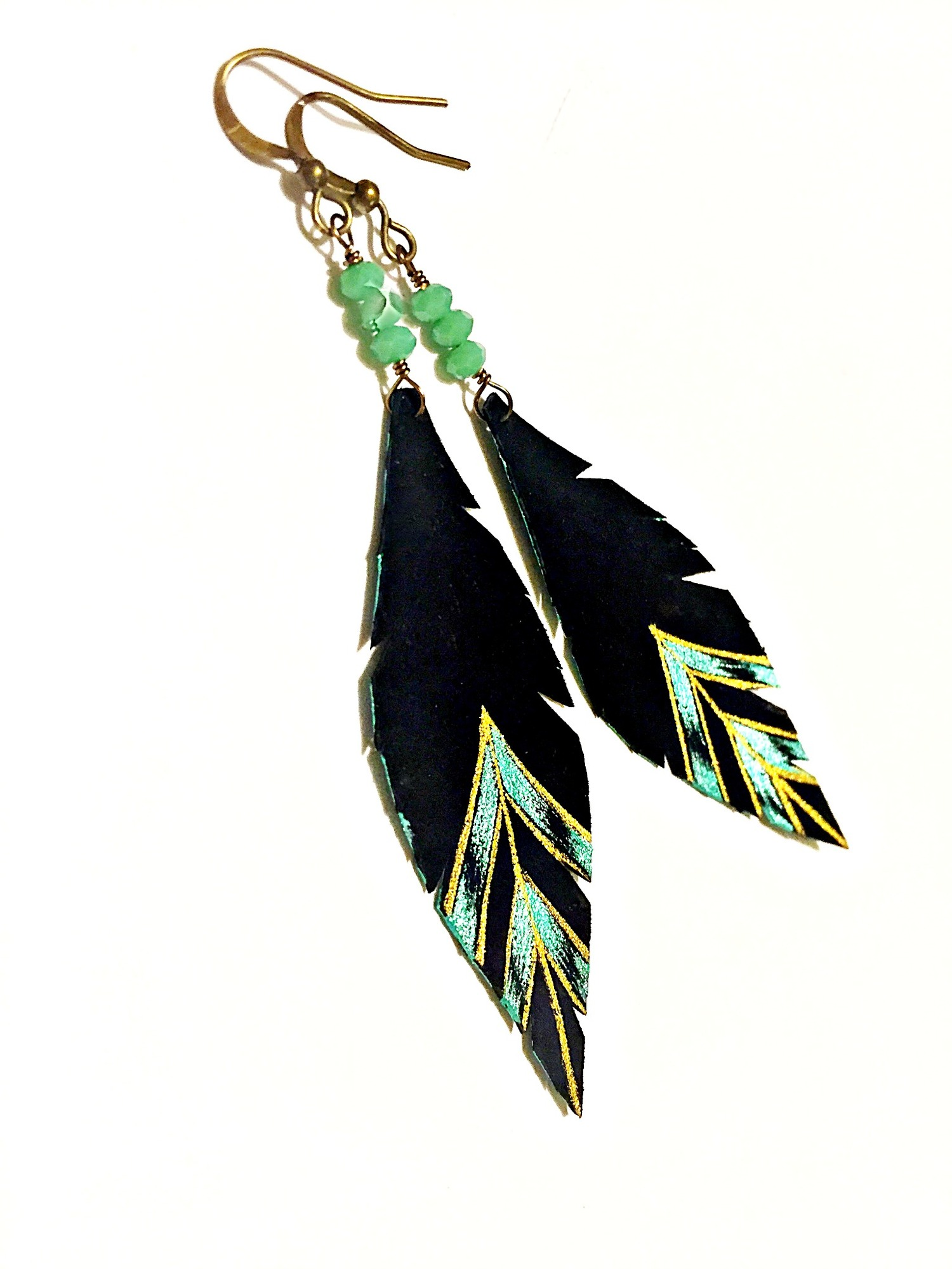 gabriella teal leather feather earrings in feathered original belladrops jewelry gold shop new