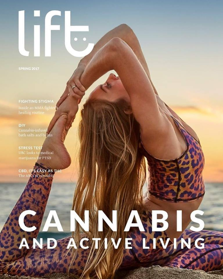 Spring 2017 Lift cover features Rachael Carlevale, Founder of Ganjasana, with makeup by Monica Alvarez, photo shot by Jeff Skeirik, courtesy of Cosmic Sister; Sustainable outfit by Teeki