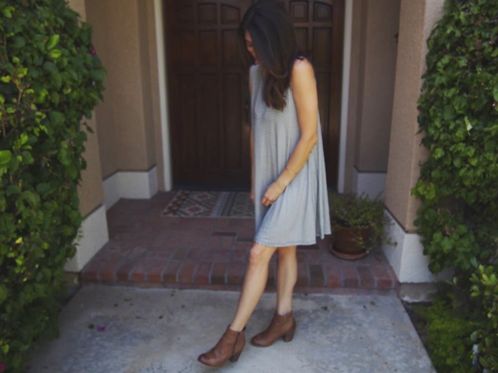 Boots: Nordstrom. Dress: Old, boutique. Similar here. Hat: Brixton, old.