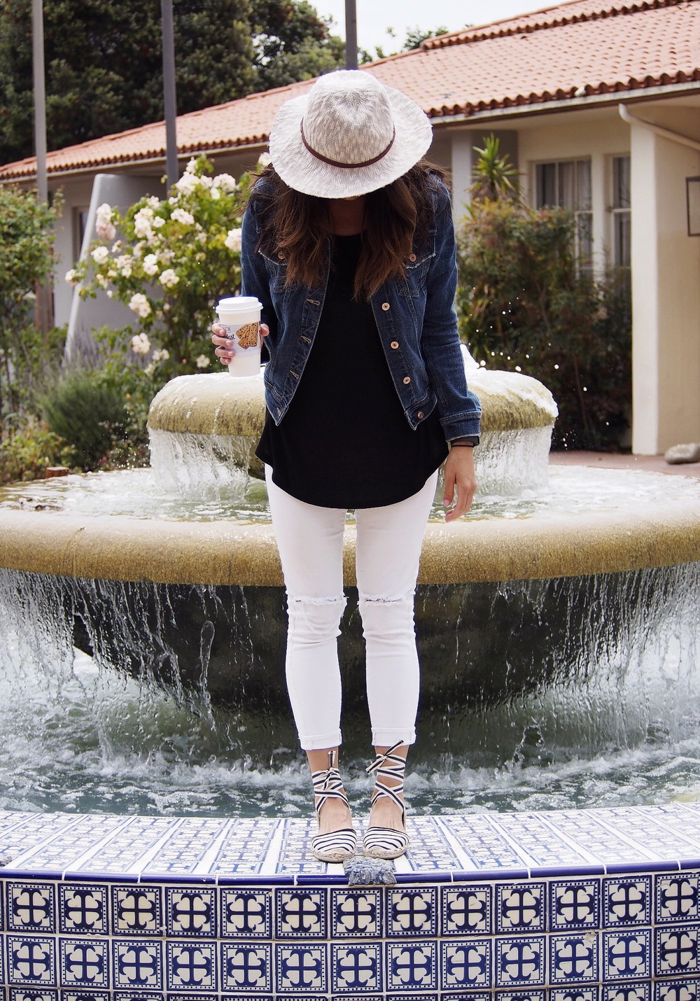 Hat: Hinge. Shirt: Target. Jacket: Zara. Pants: Old. Similar at Topshop. Shoes: Soludos.
