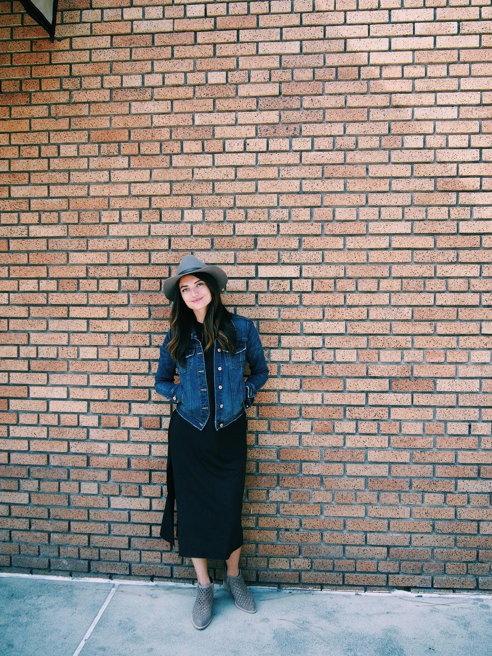 Hat: Urban Outfitters. Dress: Zara, old. Denim Jacket: Zara. Shoes: Jeffrey Campbell.