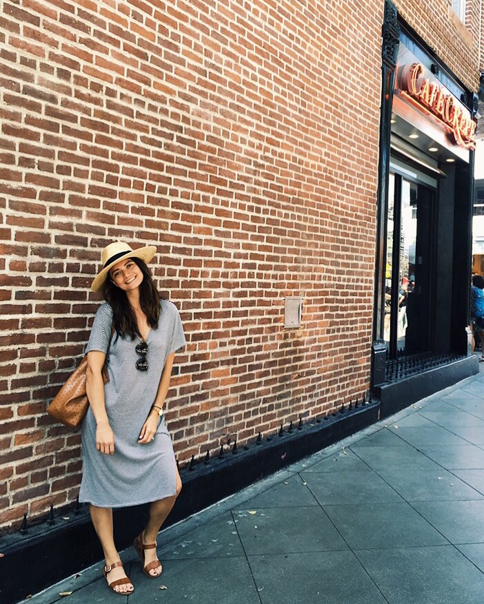 Dress: Forever 21, old. Sandals: Steve Madden. Hat: Brixton.
