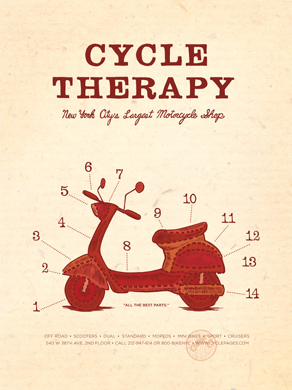 A butcher shop diagram-inspired poster for Cycle Therapy, a motorcycle shop I found in the yellow pages. Student project from my time at Pratt Institute.