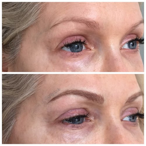 eyebrow microblading blonde hair. before and after microblading eyebrow blonde hair