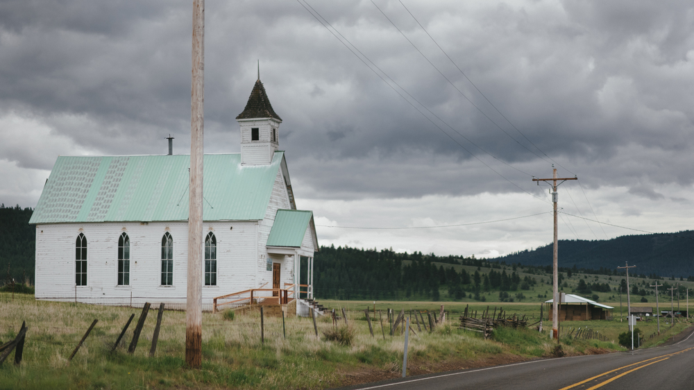 Defunct church in Fox, Oregon