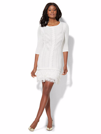 Cable Fringed Sweater Dress