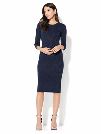 Lurex Ribbed-Knit Sweater Dress