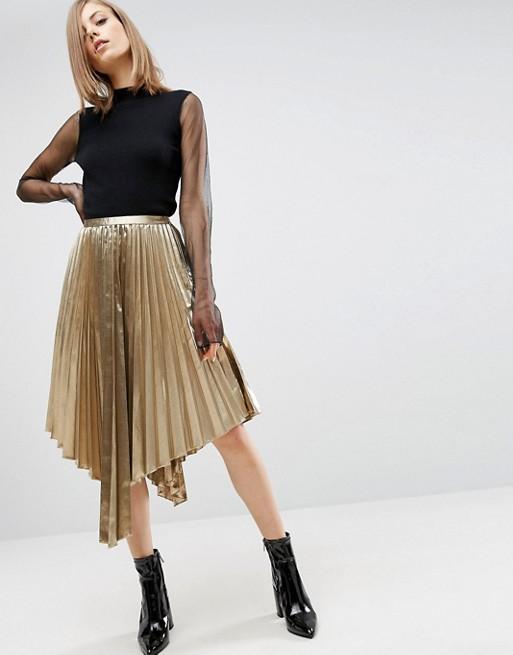 Gold Metallic Skirt w/ Hanky Hem
