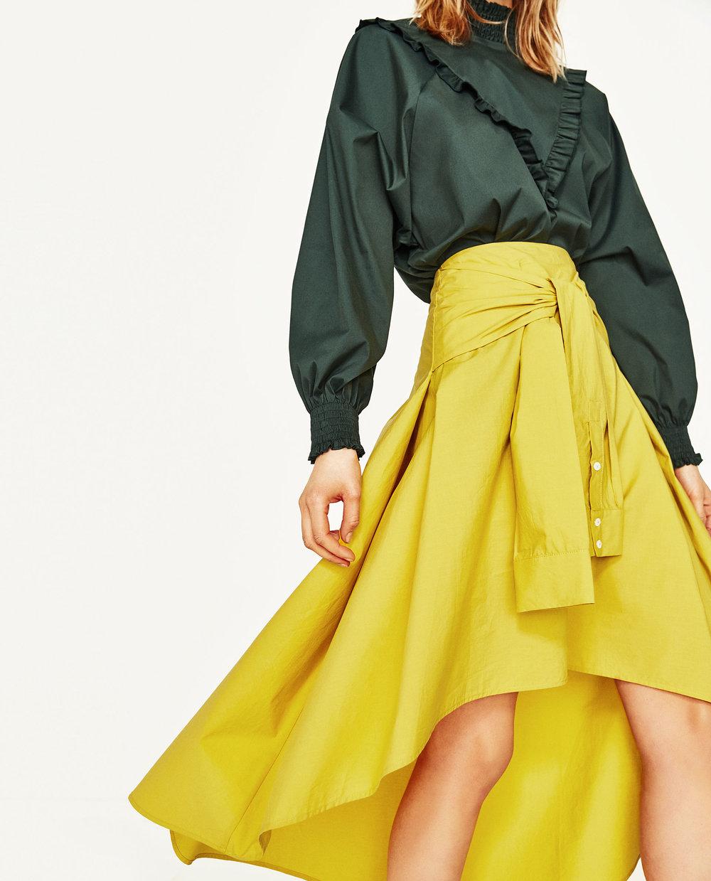 Midi Skirt w/ Sleeve Shirt Detail