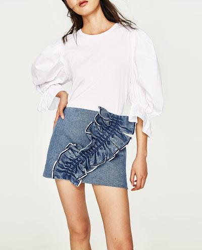 Frilled Denim Mini Skirt