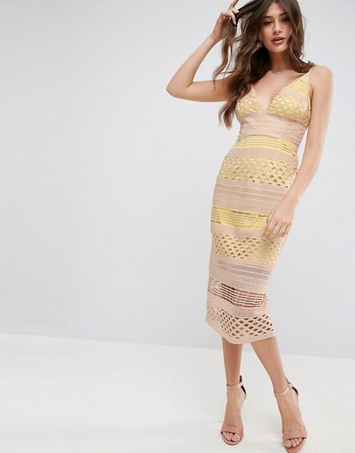 Hitchcock Graphic Lace Midi Dress