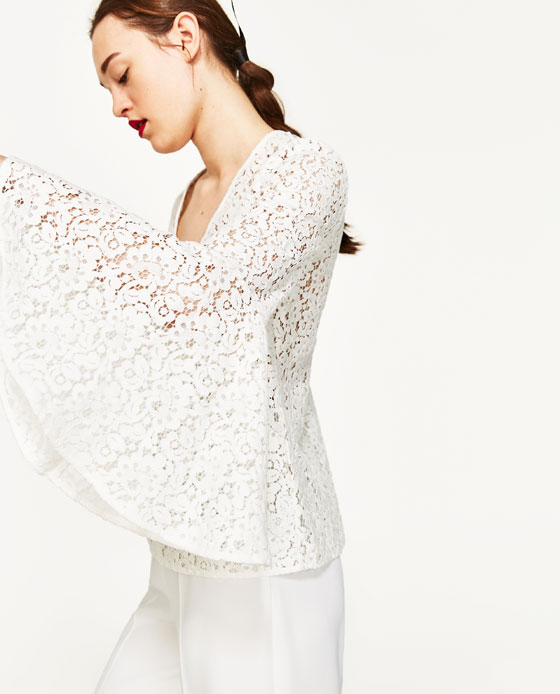 Lace Blouse w/ Bell Sleeves