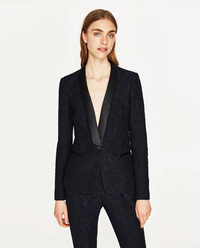 Navy Lace Tuxedo Jacket