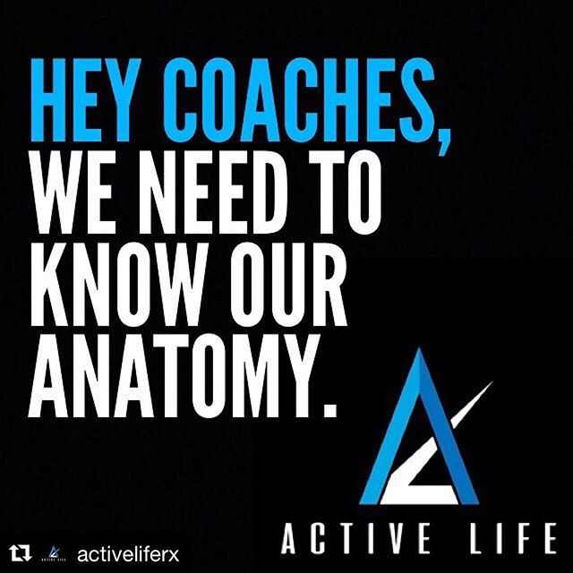 Great post by @seanpastuch and the team at Active Life RX! 💯💯💯 #Repost @activeliferx ・・・ Attachment points and function. . We need to know them. . When we agree to coach people to improve their anatomy and physiology, it is imperative, it is fundamental, that we know how it works to begin with. . Knowing your anatomy means knowing what a muscle is called, where it is, what it does, what the joints it crosses are, what bones it attaches to, and what planes and directions it moves bones in. . This should be a non negotiable, non starter if you want to be a coach in a gym. . Forgetting the names and attachments of small, intrinsic, involuntary muscles over time is understood, no one expects perfection. But the basics are the basics. . We all know our ass from our elbow, but how many know our ischium from our olecranon. We all should. . #ActiveLifeRx #TurnPro #Anatomy #Physiology #Basics #Coach