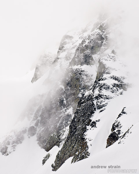 Mount Joffre, shrouded by fog.
