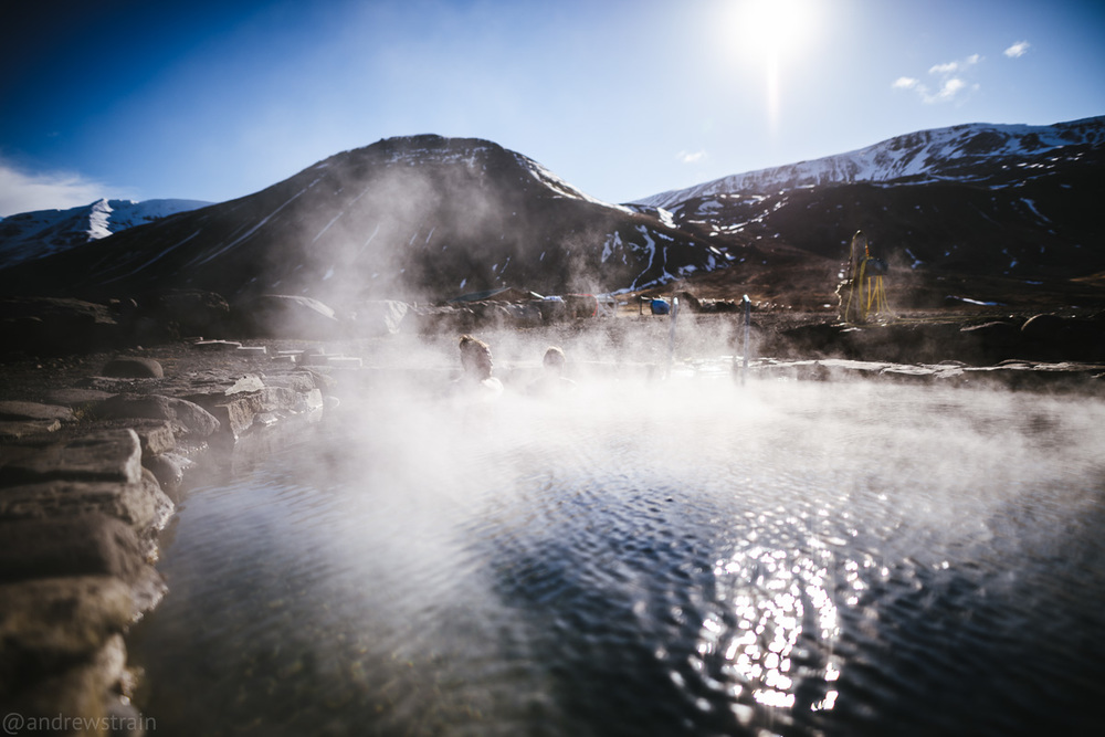 Nikon D810 + Sigma 20mm f/1.4 Art @ f/1.4 | 1/8000 sec | ISO 64 A candid at the relaxing hot springs of Grettislaug, Iceland.